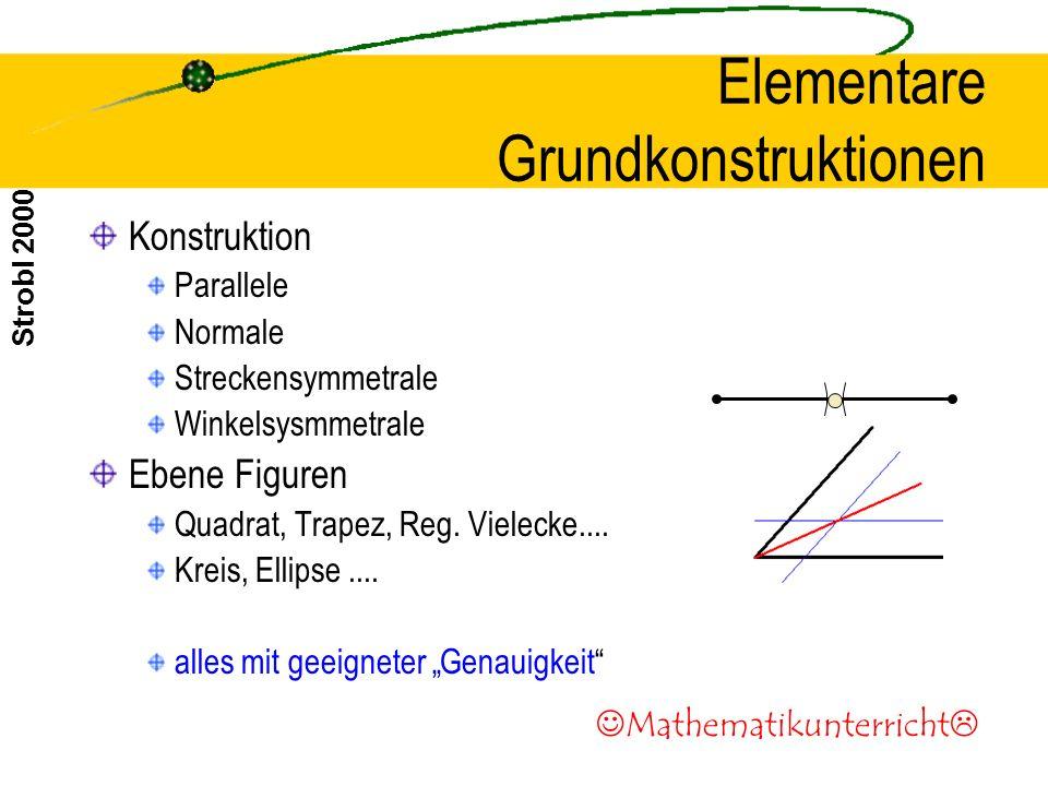Strobl 2000 Elementare Grundkonstruktionen Konstruktion Parallele Normale Streckensymmetrale Winkelsysmmetrale Ebene Figuren Quadrat, Trapez, Reg.