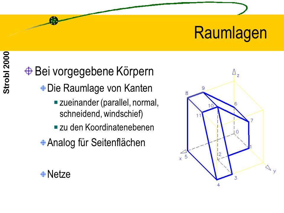 Strobl 2000 Raumlagen Bei vorgegebene Körpern Die Raumlage von Kanten zueinander (parallel, normal, schneidend, windschief) zu den Koordinatenebenen Analog für Seitenflächen Netze