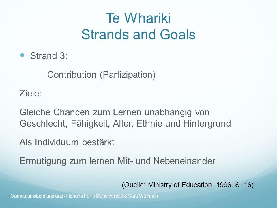 Te Whariki Strands and Goals Strand 3: Contribution (Partizipation) Ziele: Gleiche Chancen zum Lernen unabhängig von Geschlecht, Fähigkeit, Alter, Eth