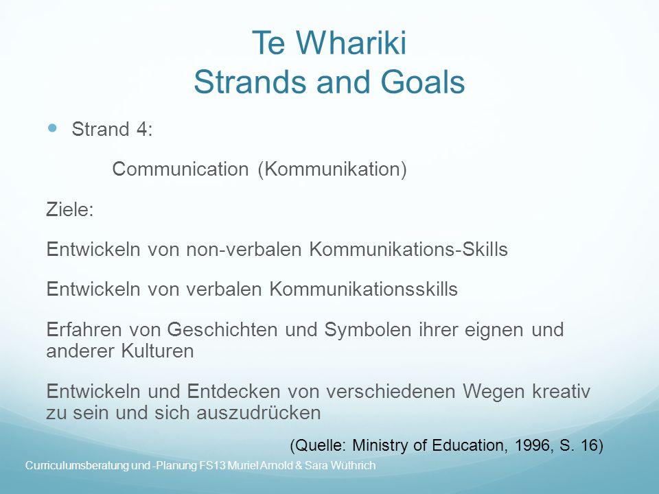 Te Whariki Strands and Goals Strand 4: Communication (Kommunikation) Ziele: Entwickeln von non-verbalen Kommunikations-Skills Entwickeln von verbalen