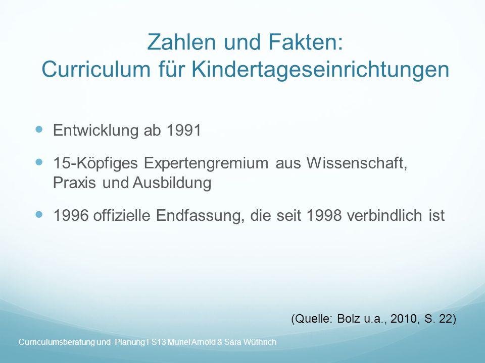 Zahlen und Fakten: Curriculum für Kindertageseinrichtungen Entwicklung ab 1991 15-Köpfiges Expertengremium aus Wissenschaft, Praxis und Ausbildung 199