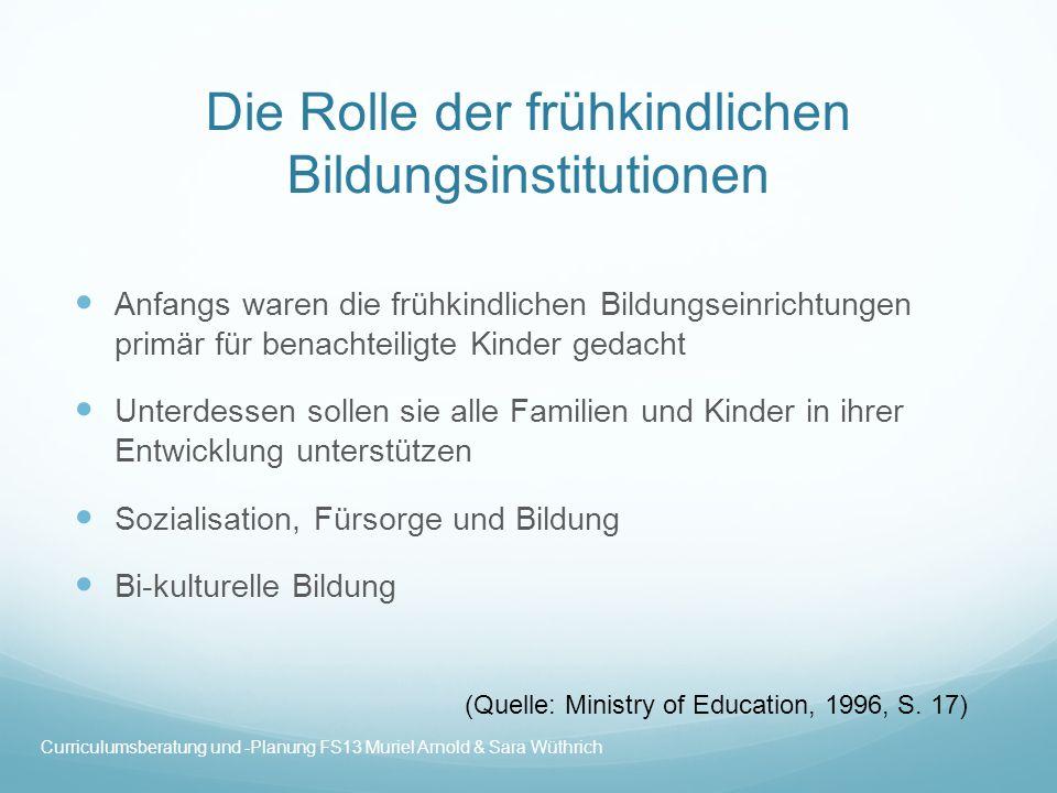 Die Rolle der frühkindlichen Bildungsinstitutionen Anfangs waren die frühkindlichen Bildungseinrichtungen primär für benachteiligte Kinder gedacht Unt
