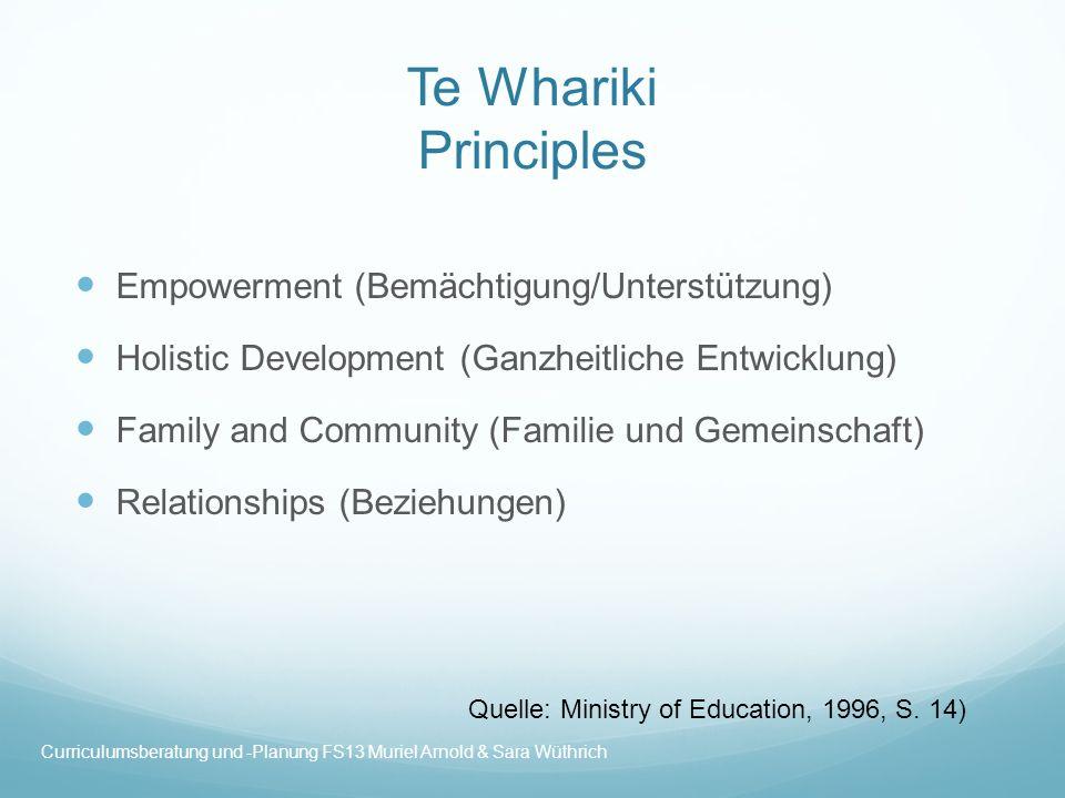 Te Whariki Strands and Goals Strand 1: Well-being (Wohlbefinden) Ziele: Gesundheit Emotionales Wohlbefinden Gewährleistung von Sicherheit Quelle: Ministry of Education, 1996, S.