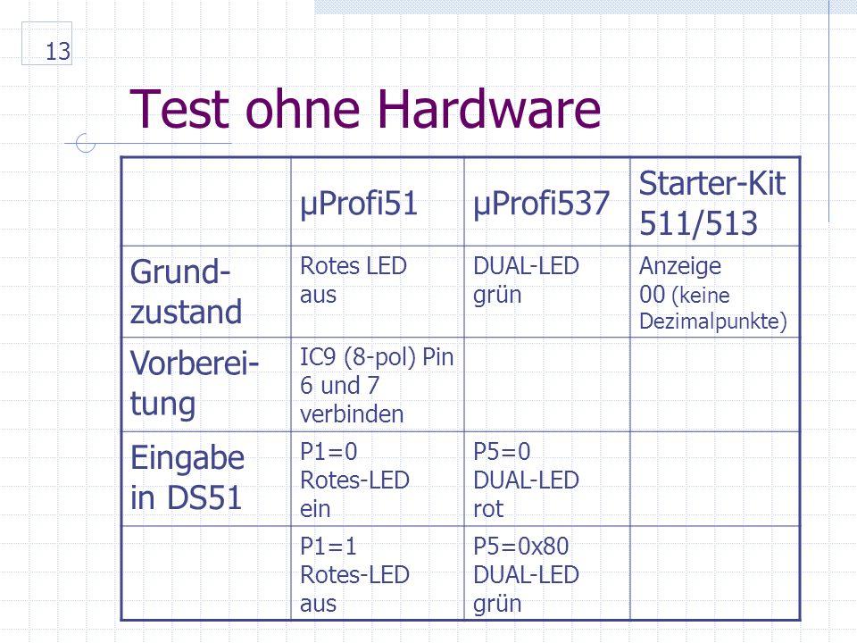 13 Test ohne Hardware µProfi51µProfi537 Starter-Kit 511/513 Grund- zustand Rotes LED aus DUAL-LED grün Anzeige 00 (keine Dezimalpunkte) Vorberei- tung IC9 (8-pol) Pin 6 und 7 verbinden Eingabe in DS51 P1=0 Rotes-LED ein P5=0 DUAL-LED rot P1=1 Rotes-LED aus P5=0x80 DUAL-LED grün