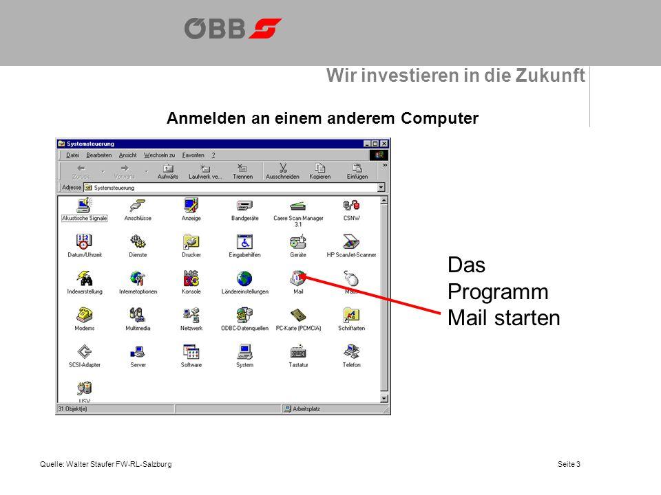 Wir investieren in die Zukunft Anmelden an einem anderem Computer Quelle: Walter Staufer FW-RL-Salzburg Das Programm Mail starten Seite 3