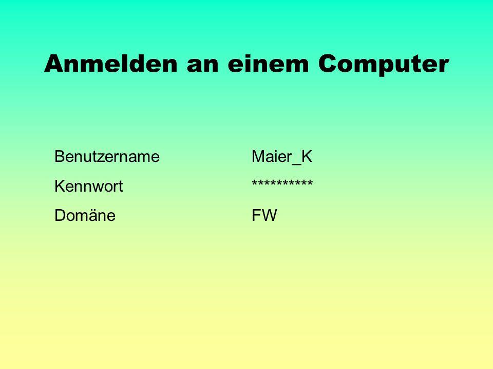 Anmelden an einem Computer BenutzernameMaier_K Kennwort********** DomäneFW