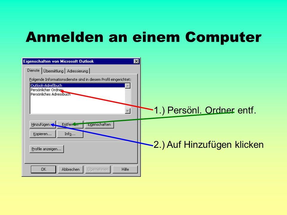 Anmelden an einem Computer 1.) Persönl. Ordner entf. 2.) Auf Hinzufügen klicken
