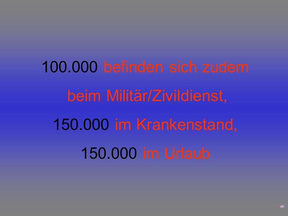 100.000 befinden sich zudem beim Militär/Zivildienst, 150.000 im Krankenstand, 150.000 im Urlaub dh