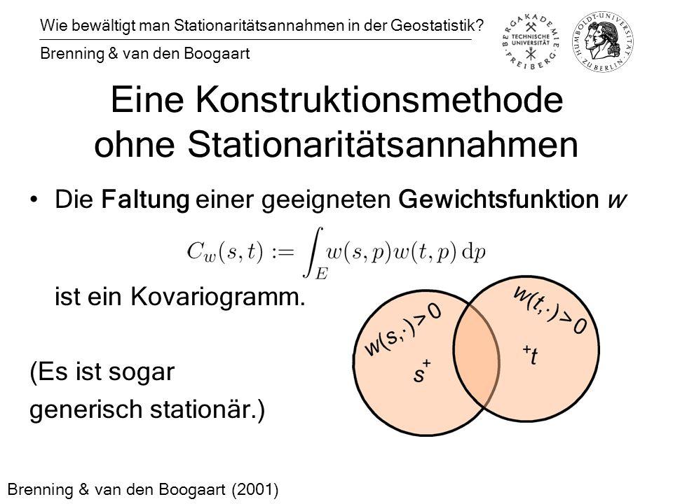 Eine Konstruktionsmethode ohne Stationaritätsannahmen Die Faltung einer geeigneten Gewichtsfunktion w ist ein Kovariogramm.