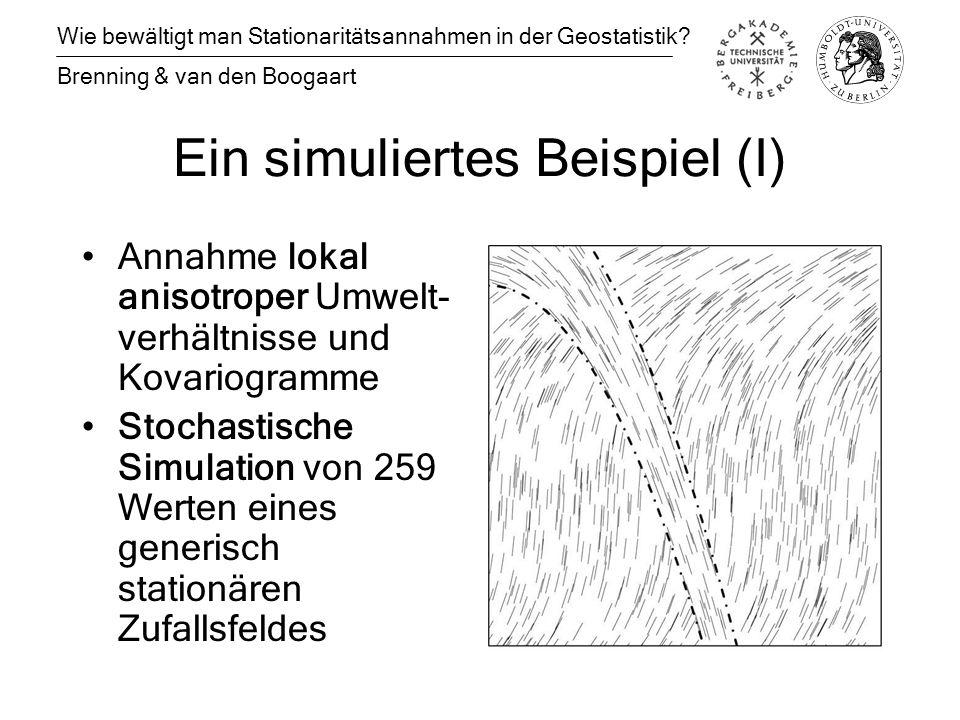 Ein simuliertes Beispiel (I) Annahme lokal anisotroper Umwelt- verhältnisse und Kovariogramme Stochastische Simulation von 259 Werten eines generisch stationären Zufallsfeldes Wie bewältigt man Stationaritätsannahmen in der Geostatistik.