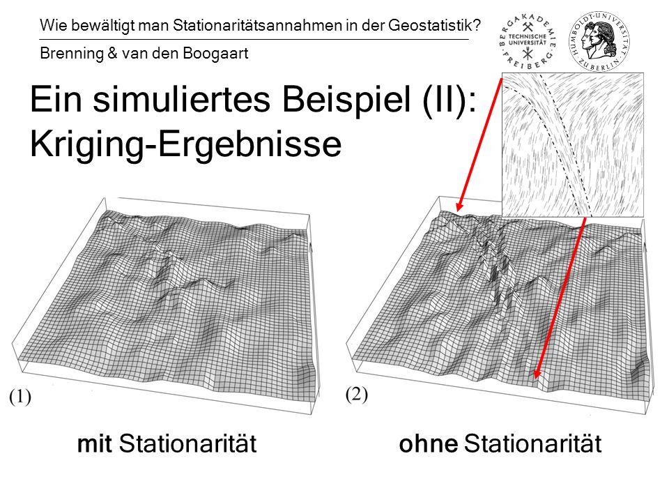 Ein simuliertes Beispiel (II): Kriging-Ergebnisse Wie bewältigt man Stationaritätsannahmen in der Geostatistik.