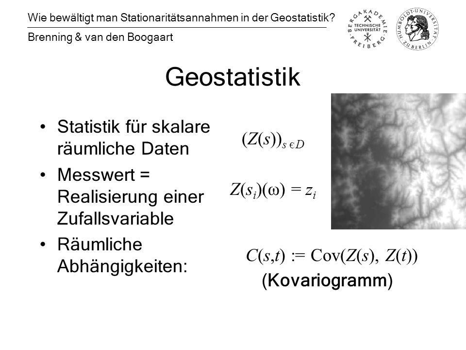 Geostatistik Statistik für skalare räumliche Daten Messwert = Realisierung einer Zufallsvariable Räumliche Abhängigkeiten: Wie bewältigt man Stationaritätsannahmen in der Geostatistik.