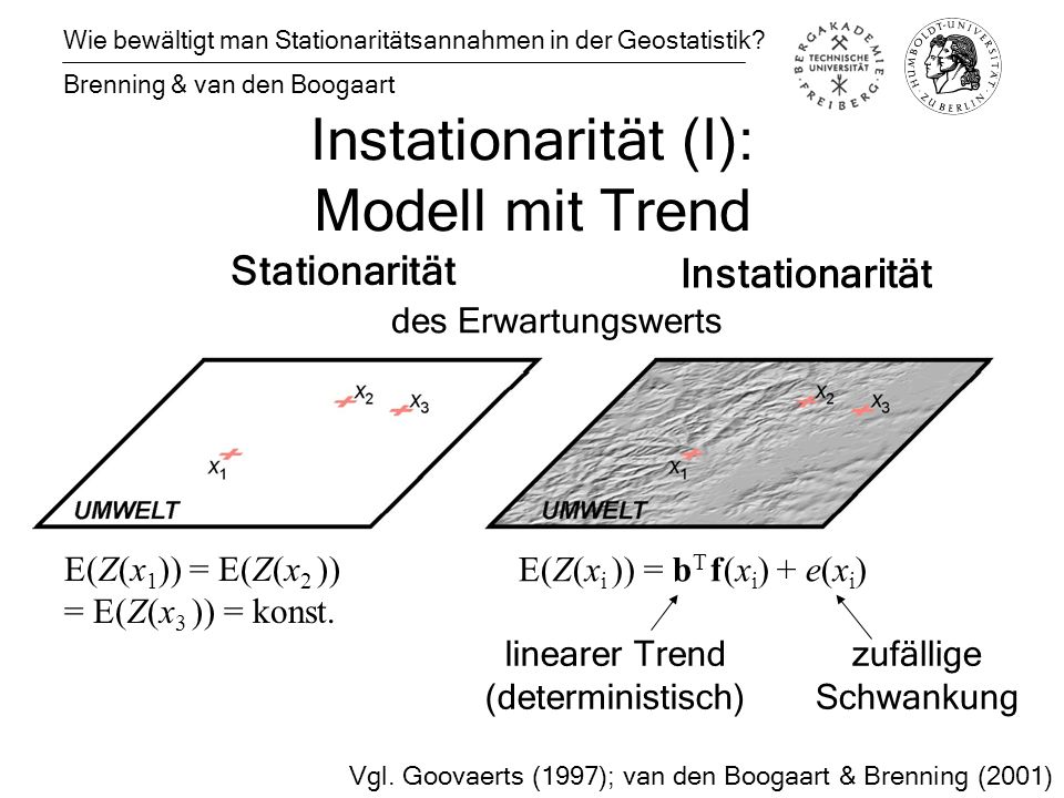 Instationarität (I): Modell mit Trend Wie bewältigt man Stationaritätsannahmen in der Geostatistik.