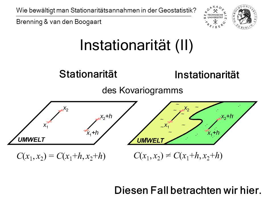 Instationarität (II) Wie bewältigt man Stationaritätsannahmen in der Geostatistik.