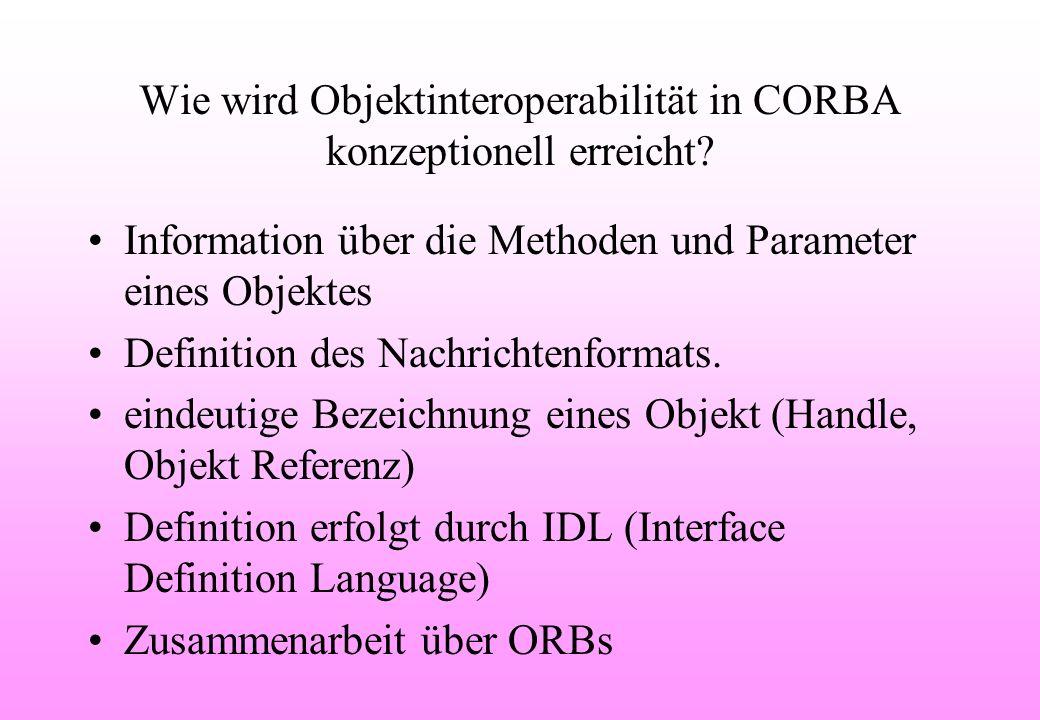 Wie wird Objektinteroperabilität in CORBA konzeptionell erreicht.