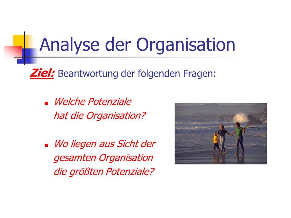 Analyse der Organisation Ziel: Beantwortung der folgenden Fragen: Welche Potenziale hat die Organisation? Wo liegen aus Sicht der gesamten Organisatio