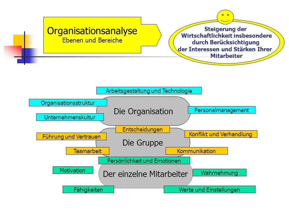 Organisationsanalyse Ebenen und Bereiche Steigerung der Wirtschaftlichkeit insbesondere durch Berücksichtigung der Interessen und Stärken Ihrer Mitarb
