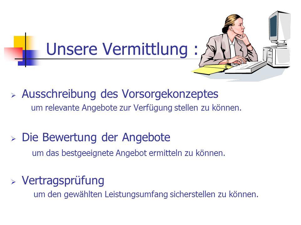 Unsere Vermittlung : Ausschreibung des Vorsorgekonzeptes um relevante Angebote zur Verfügung stellen zu können.