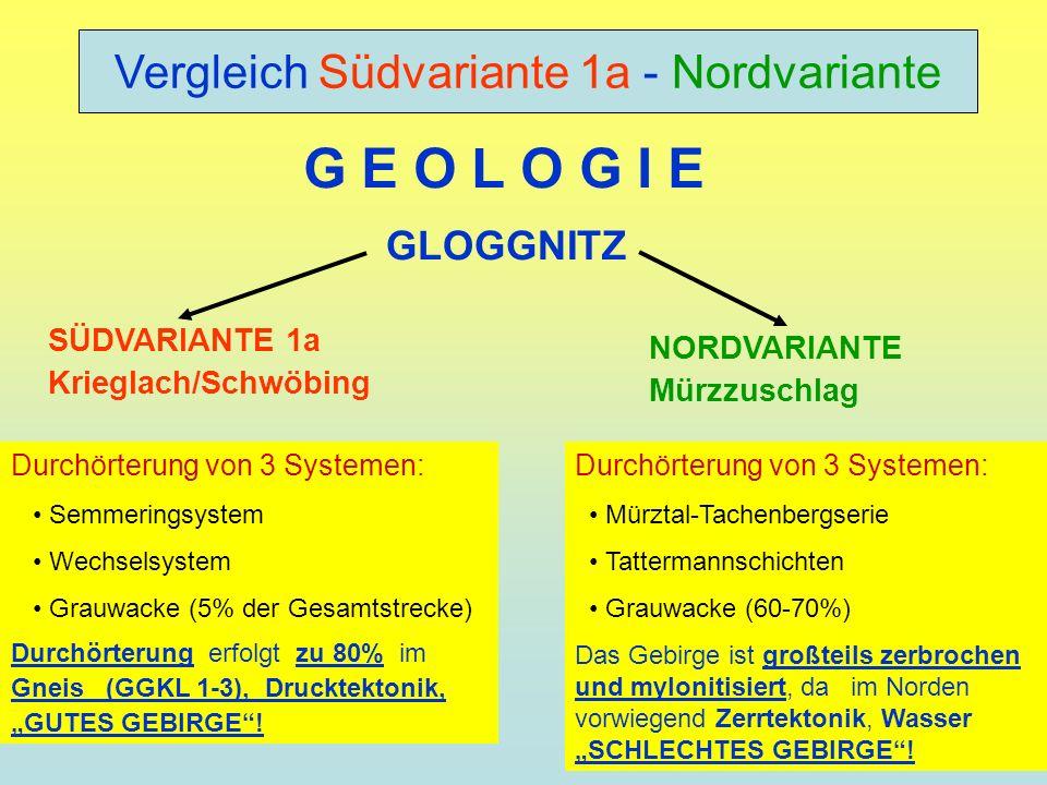 Durchörterung von 3 Systemen: Mürztal-Tachenbergserie Tattermannschichten Grauwacke (60-70%) Das Gebirge ist großteils zerbrochen und mylonitisiert, d