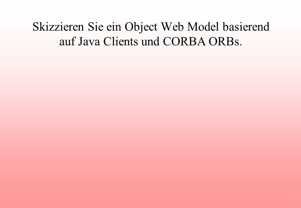 Skizzieren Sie ein Object Web Model basierend auf Java Clients und CORBA ORBs.