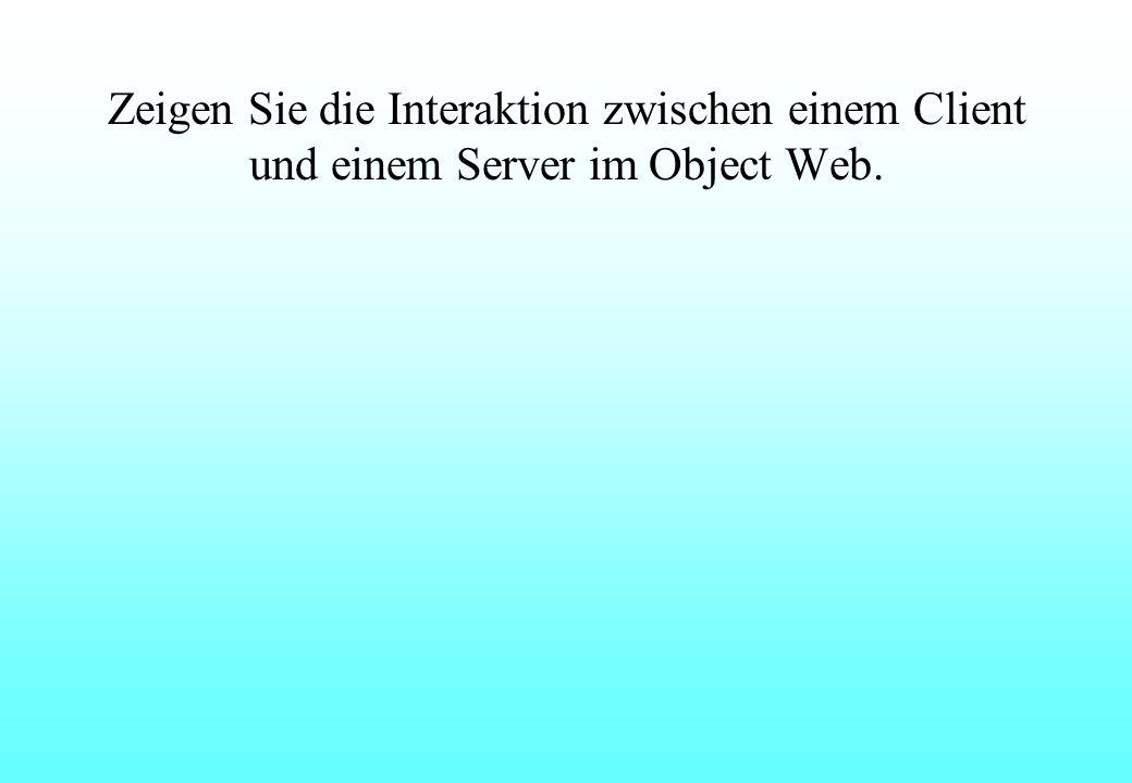 Zeigen Sie die Interaktion zwischen einem Client und einem Server im Object Web.