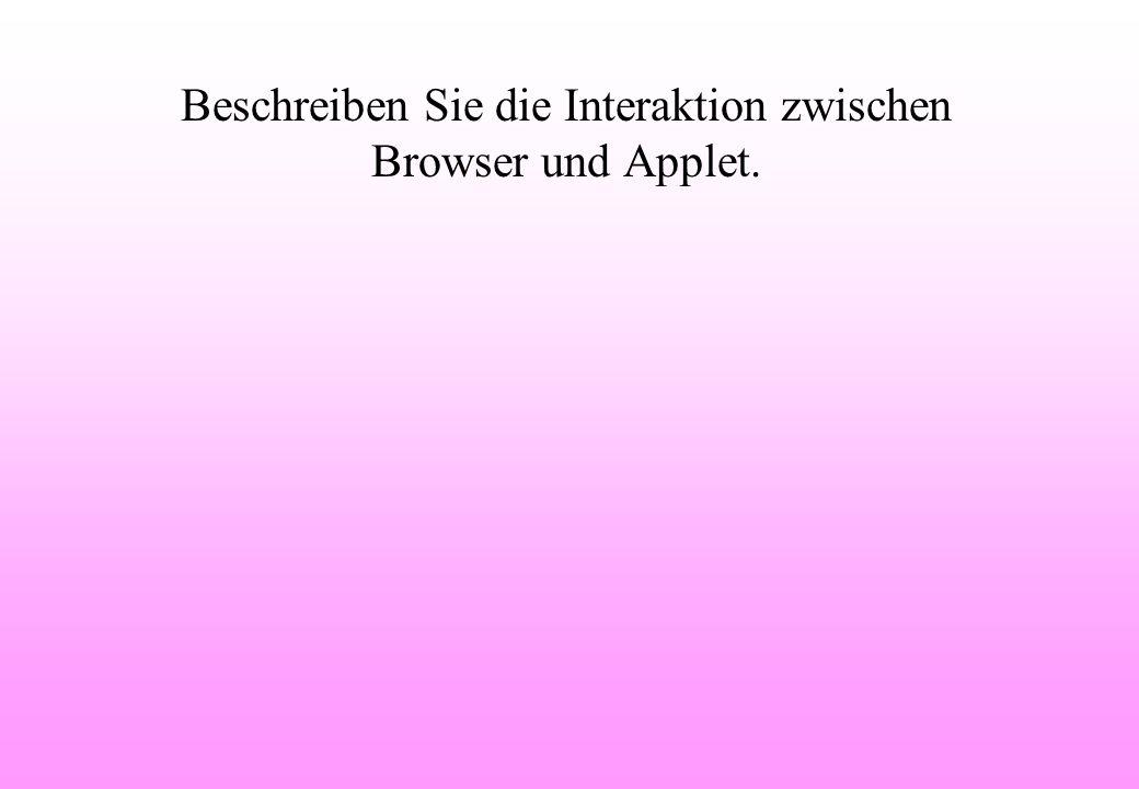Beschreiben Sie die Interaktion zwischen Browser und Applet.