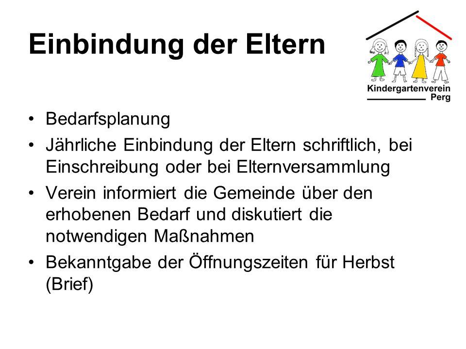 Einbindung der Eltern Bedarfsplanung Jährliche Einbindung der Eltern schriftlich, bei Einschreibung oder bei Elternversammlung Verein informiert die G