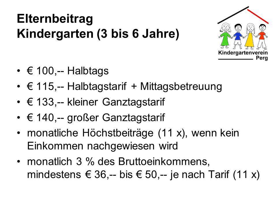 Elternbeitrag Kindergarten (3 bis 6 Jahre) 100,-- Halbtags 115,-- Halbtagstarif + Mittagsbetreuung 133,-- kleiner Ganztagstarif 140,-- großer Ganztags