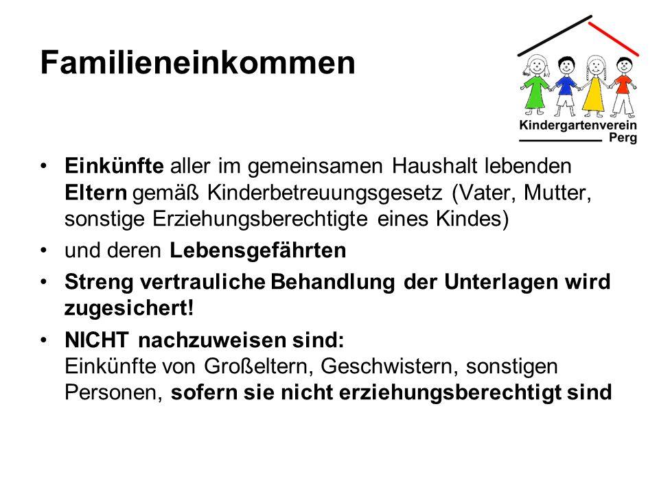 Familieneinkommen Einkünfte aller im gemeinsamen Haushalt lebenden Eltern gemäß Kinderbetreuungsgesetz (Vater, Mutter, sonstige Erziehungsberechtigte