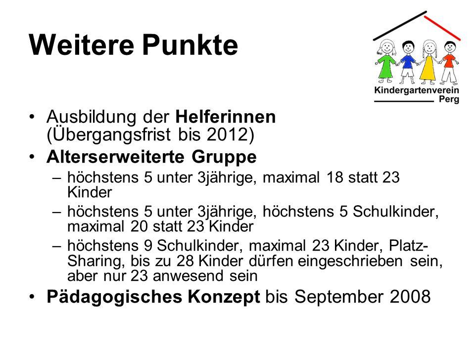 Weitere Punkte Ausbildung der Helferinnen (Übergangsfrist bis 2012) Alterserweiterte Gruppe –höchstens 5 unter 3jährige, maximal 18 statt 23 Kinder –h