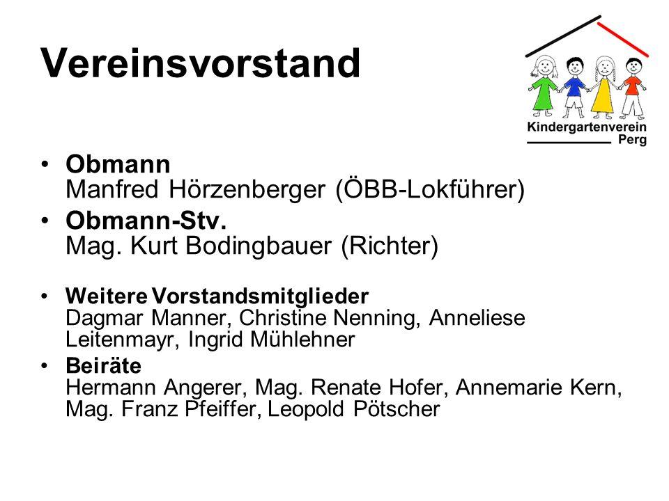 Vereinsvorstand Obmann Manfred Hörzenberger (ÖBB-Lokführer) Obmann-Stv. Mag. Kurt Bodingbauer (Richter) Weitere Vorstandsmitglieder Dagmar Manner, Chr
