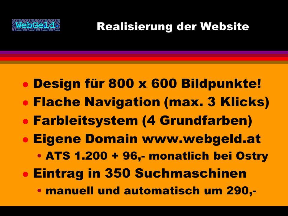 Realisierung der Website l Design für 800 x 600 Bildpunkte.