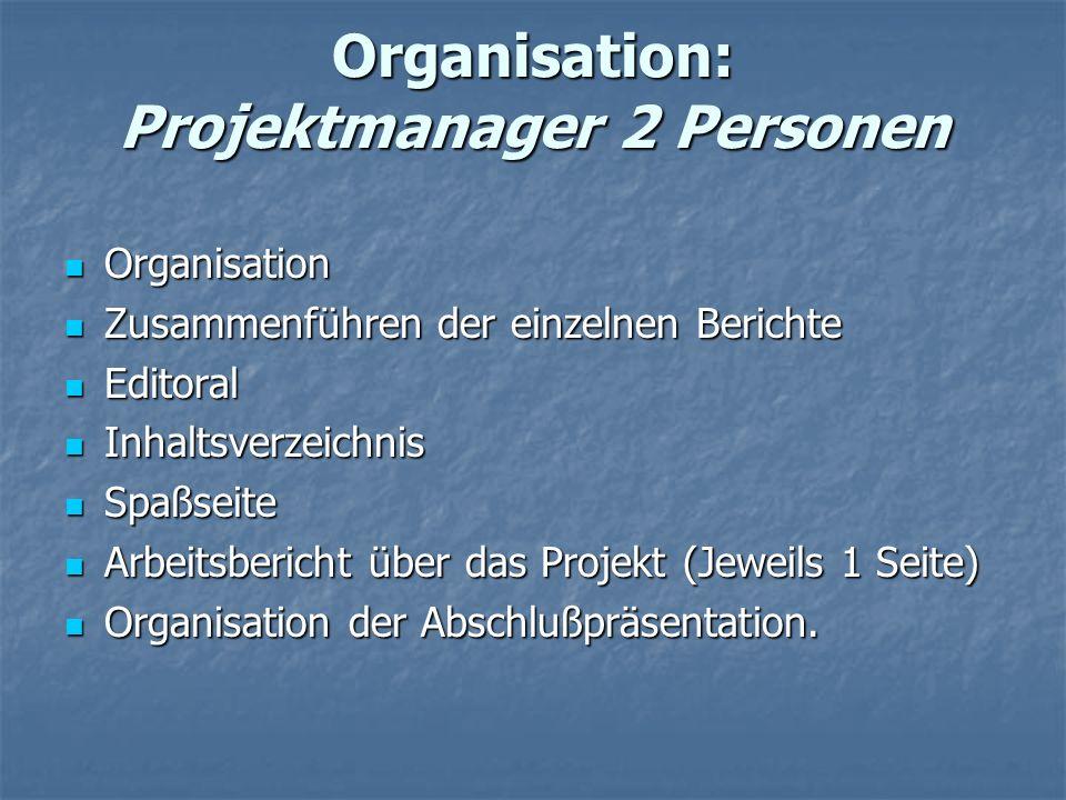 Organisation: Projektmanager 2 Personen Organisation Organisation Zusammenführen der einzelnen Berichte Zusammenführen der einzelnen Berichte Editoral