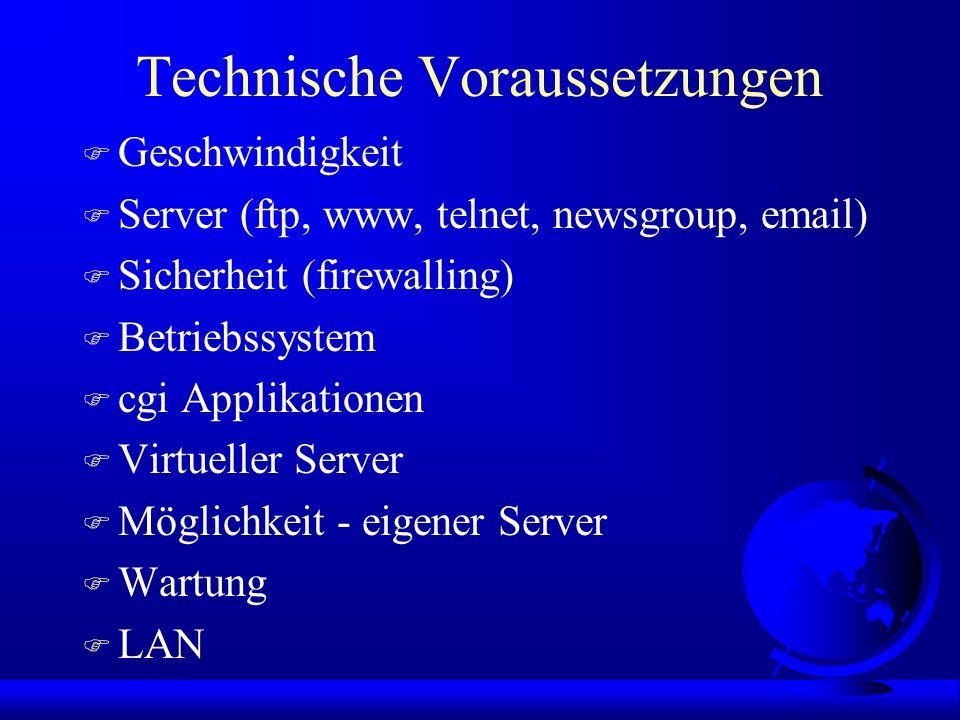 Technische Voraussetzungen F Geschwindigkeit F Server (ftp, www, telnet, newsgroup, email) F Sicherheit (firewalling) F Betriebssystem F cgi Applikationen F Virtueller Server F Möglichkeit - eigener Server F Wartung F LAN