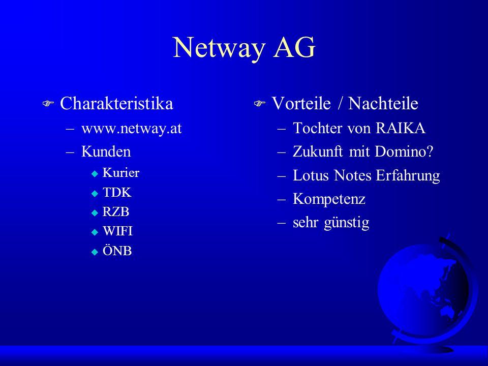 Netway AG F Charakteristika –www.netway.at –Kunden u Kurier u TDK u RZB u WIFI u ÖNB F Vorteile / Nachteile –Tochter von RAIKA –Zukunft mit Domino.