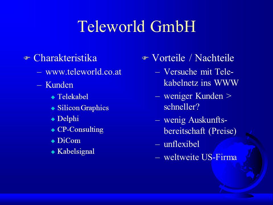 Teleworld GmbH F Charakteristika –www.teleworld.co.at –Kunden u Telekabel u Silicon Graphics u Delphi u CP-Consulting u DiCom u Kabelsignal F Vorteile / Nachteile –Versuche mit Tele- kabelnetz ins WWW –weniger Kunden > schneller.