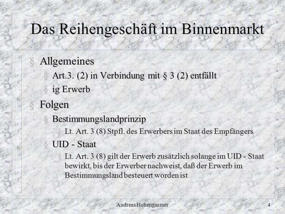 Andreas Hohengassner4 Das Reihengeschäft im Binnenmarkt §Allgemeines §Art.3. (2) in Verbindung mit § 3 (2) entfällt §ig Erwerb §Folgen §Bestimmungslan
