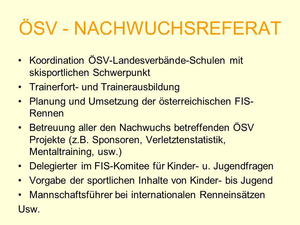 ÖSV - NACHWUCHSREFERAT Koordination ÖSV-Landesverbände-Schulen mit skisportlichen Schwerpunkt Trainerfort- und Trainerausbildung Planung und Umsetzung