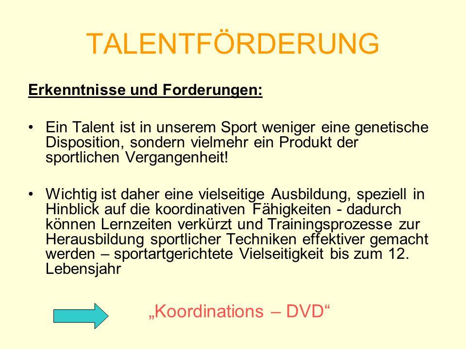 TALENTFÖRDERUNG Erkenntnisse und Forderungen: Ein Talent ist in unserem Sport weniger eine genetische Disposition, sondern vielmehr ein Produkt der sp