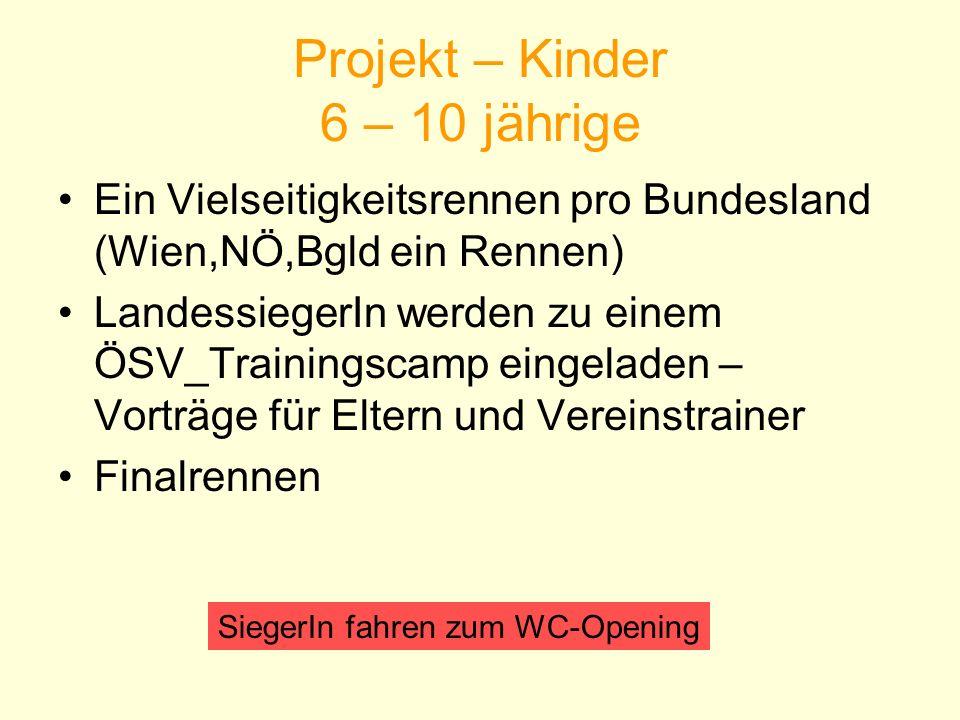 Projekt – Kinder 6 – 10 jährige Ein Vielseitigkeitsrennen pro Bundesland (Wien,NÖ,Bgld ein Rennen) LandessiegerIn werden zu einem ÖSV_Trainingscamp ei