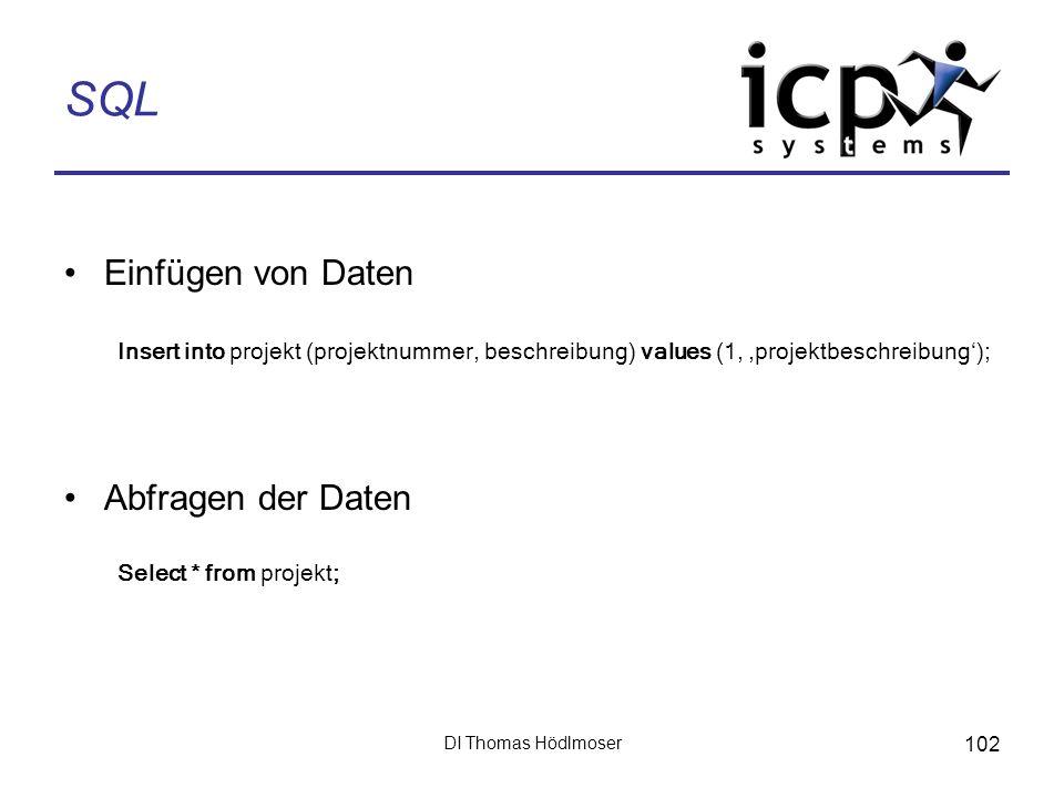 DI Thomas Hödlmoser 102 SQL Einfügen von Daten Insert into projekt (projektnummer, beschreibung) values (1, projektbeschreibung); Abfragen der Daten S