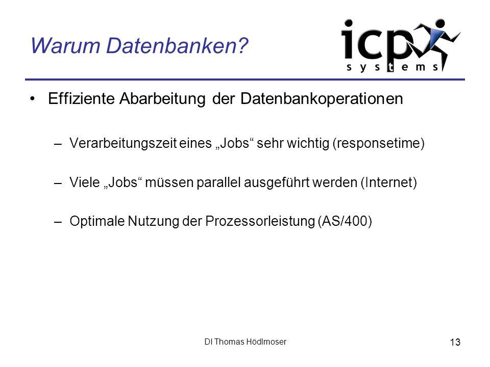 DI Thomas Hödlmoser 13 Warum Datenbanken? Effiziente Abarbeitung der Datenbankoperationen –Verarbeitungszeit eines Jobs sehr wichtig (responsetime) –V