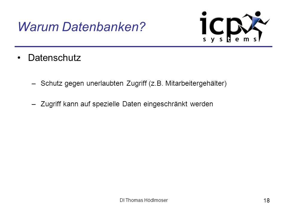 DI Thomas Hödlmoser 18 Warum Datenbanken? Datenschutz –Schutz gegen unerlaubten Zugriff (z.B. Mitarbeitergehälter) –Zugriff kann auf spezielle Daten e