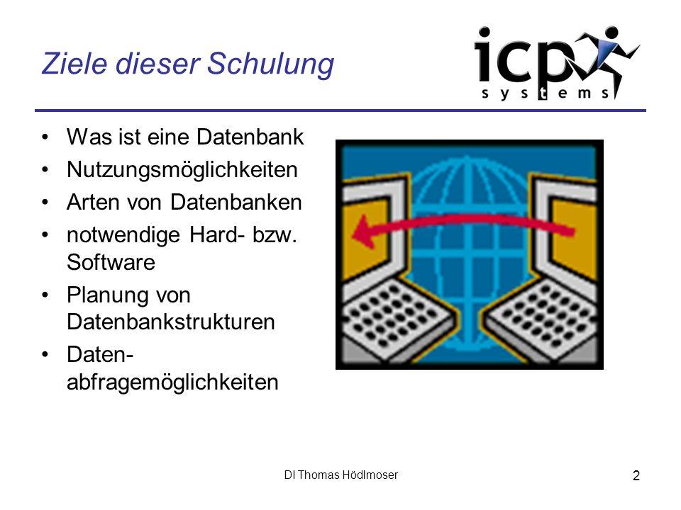 DI Thomas Hödlmoser 2 Ziele dieser Schulung Was ist eine Datenbank Nutzungsmöglichkeiten Arten von Datenbanken notwendige Hard- bzw. Software Planung