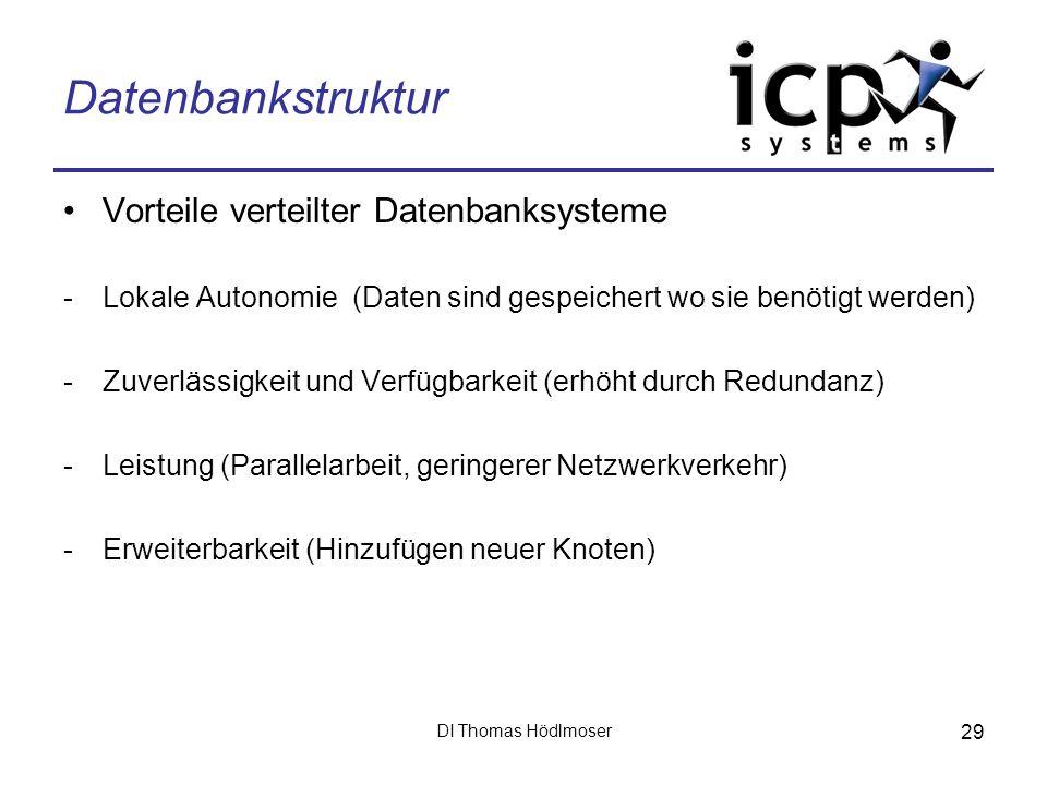 DI Thomas Hödlmoser 29 Datenbankstruktur Vorteile verteilter Datenbanksysteme -Lokale Autonomie (Daten sind gespeichert wo sie benötigt werden) -Zuver