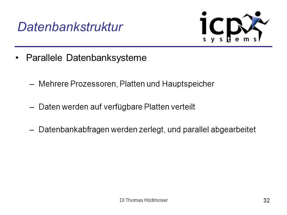 DI Thomas Hödlmoser 32 Datenbankstruktur Parallele Datenbanksysteme –Mehrere Prozessoren, Platten und Hauptspeicher –Daten werden auf verfügbare Platt