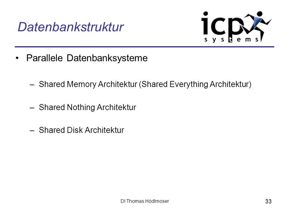 DI Thomas Hödlmoser 33 Datenbankstruktur Parallele Datenbanksysteme –Shared Memory Architektur (Shared Everything Architektur) –Shared Nothing Archite