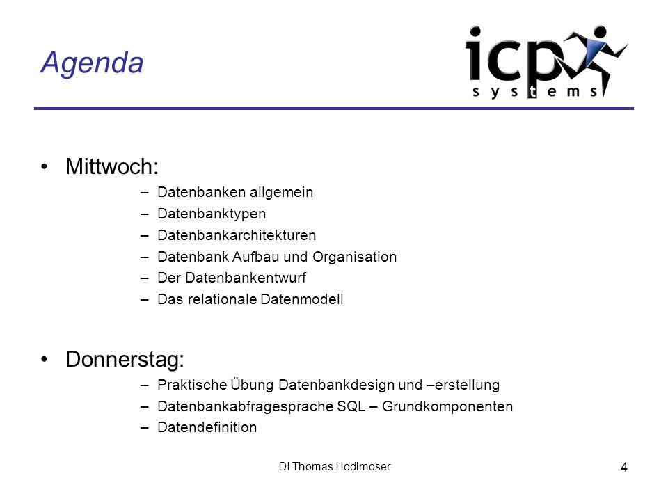 DI Thomas Hödlmoser 4 Agenda Mittwoch: –Datenbanken allgemein –Datenbanktypen –Datenbankarchitekturen –Datenbank Aufbau und Organisation –Der Datenban