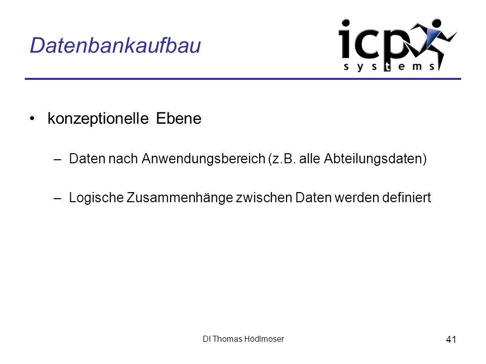 DI Thomas Hödlmoser 41 Datenbankaufbau konzeptionelle Ebene –Daten nach Anwendungsbereich (z.B. alle Abteilungsdaten) –Logische Zusammenhänge zwischen