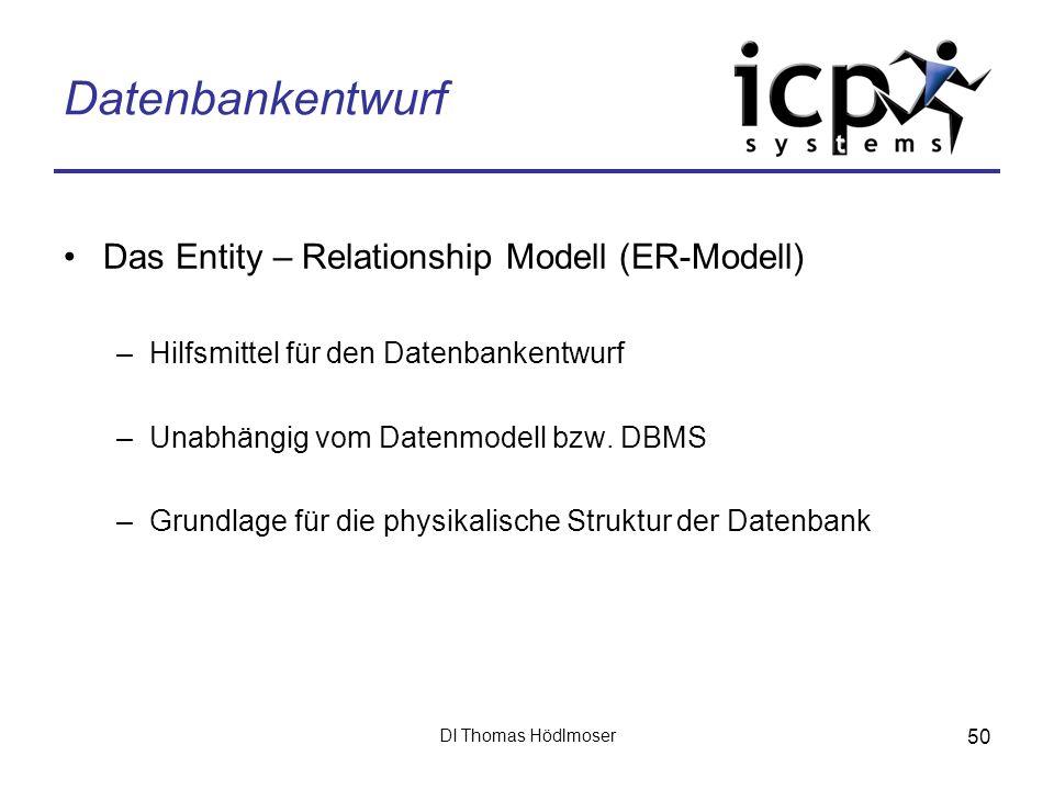 DI Thomas Hödlmoser 50 Datenbankentwurf Das Entity – Relationship Modell (ER-Modell) –Hilfsmittel für den Datenbankentwurf –Unabhängig vom Datenmodell